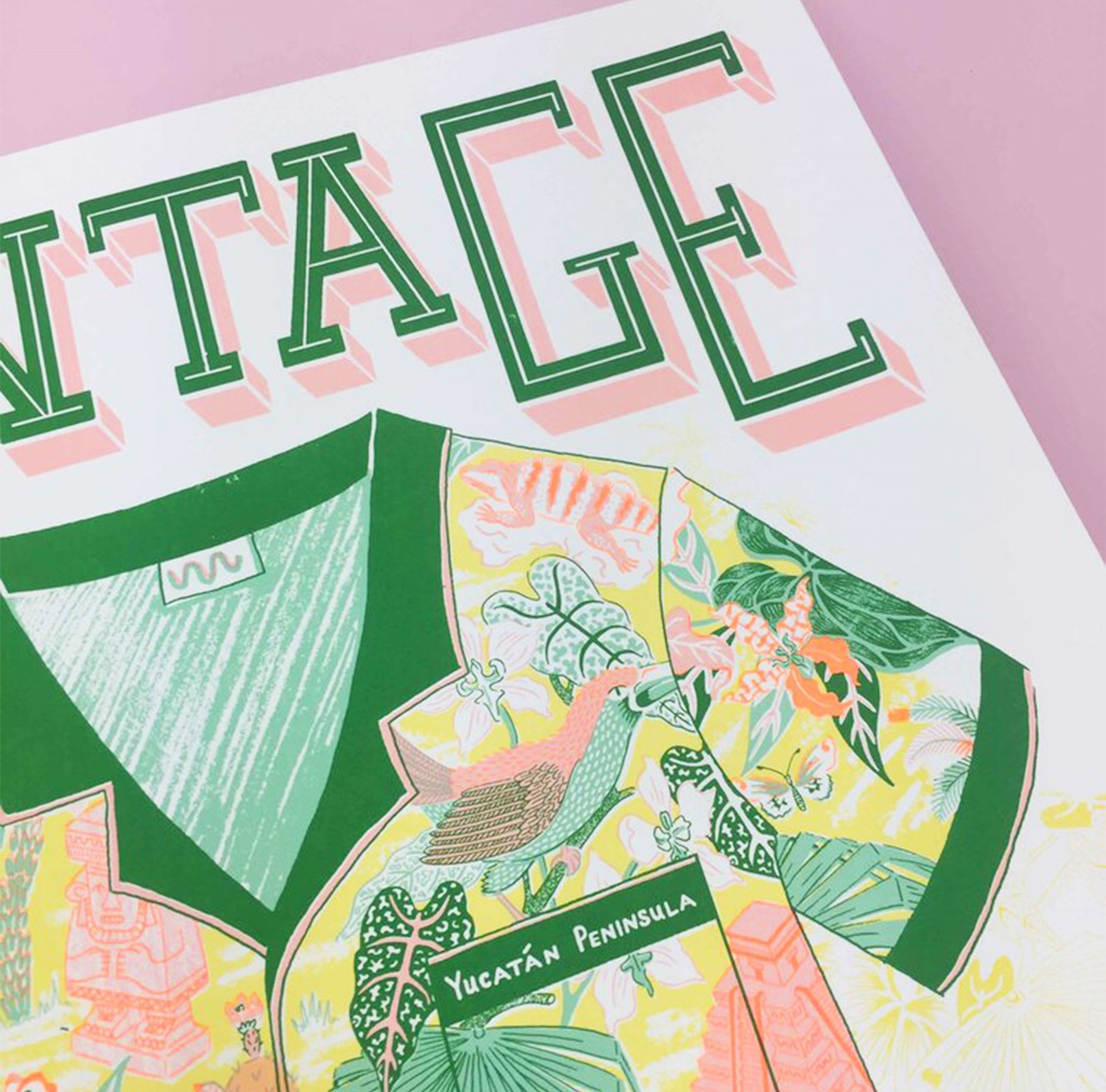 Close up - typography -A2 Screen Print by Jacqueline Colley - Vintage Fashions