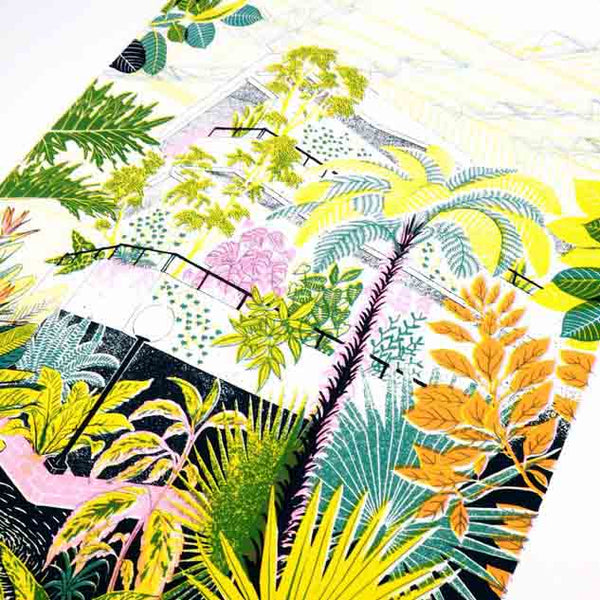 Close up of the limited edition 4 colours screen printed illustration of the Barbican Conservatory