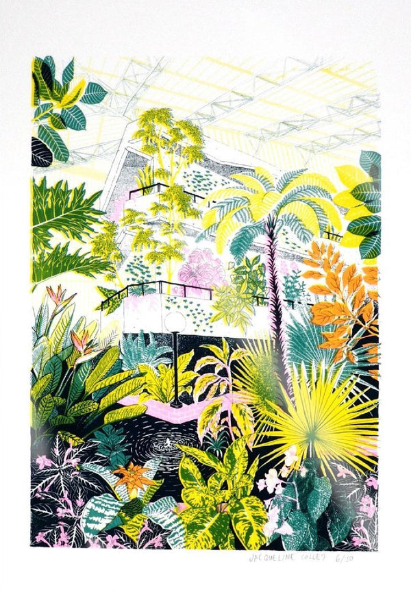 limited edition 4 colour screen printed illustration of the Barbican Conservatory