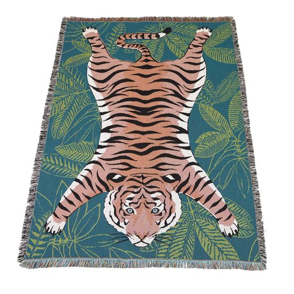 Woven 100% cotton tiger throw blanket designed by Jacqueline Colley