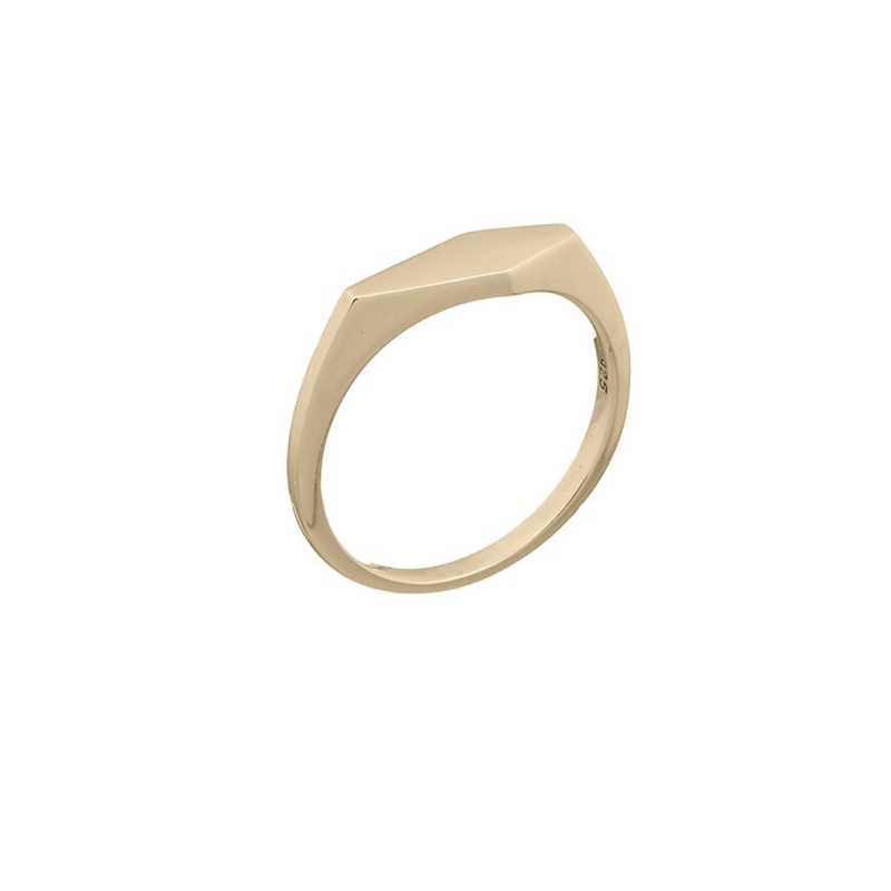 Fresh and minimalist gold geometric signet by Keep it Peachy now online on Cuemars