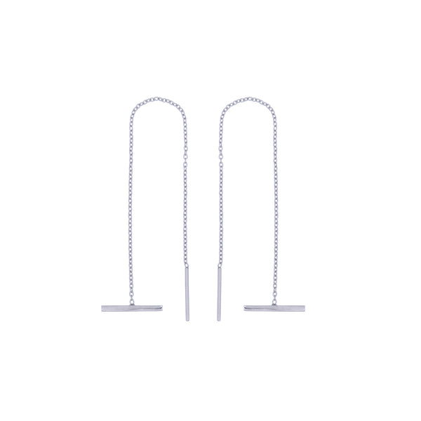 Fresh and minimalist long bar silver threader earrings Kyra by Keep it Peachy now online on Cuemars