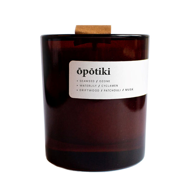 Eco Soy Wax Candle - Opotiki - in Amber Glass Jar with Eco Lid - Keynvor available at Cuemars