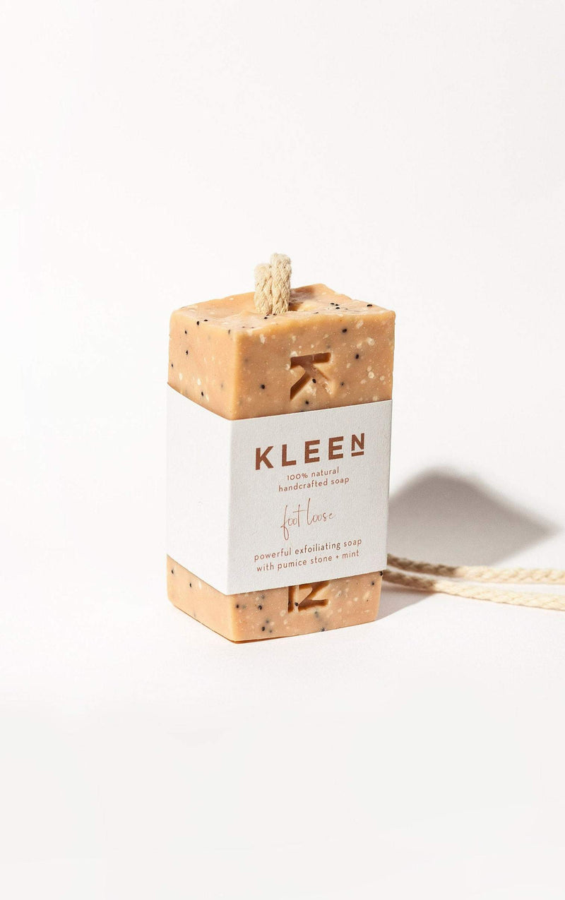 Picture of branded Pumice foot scrub soap on a cotton rope by natural skincare brand Kleen soaps ideal for tired feet