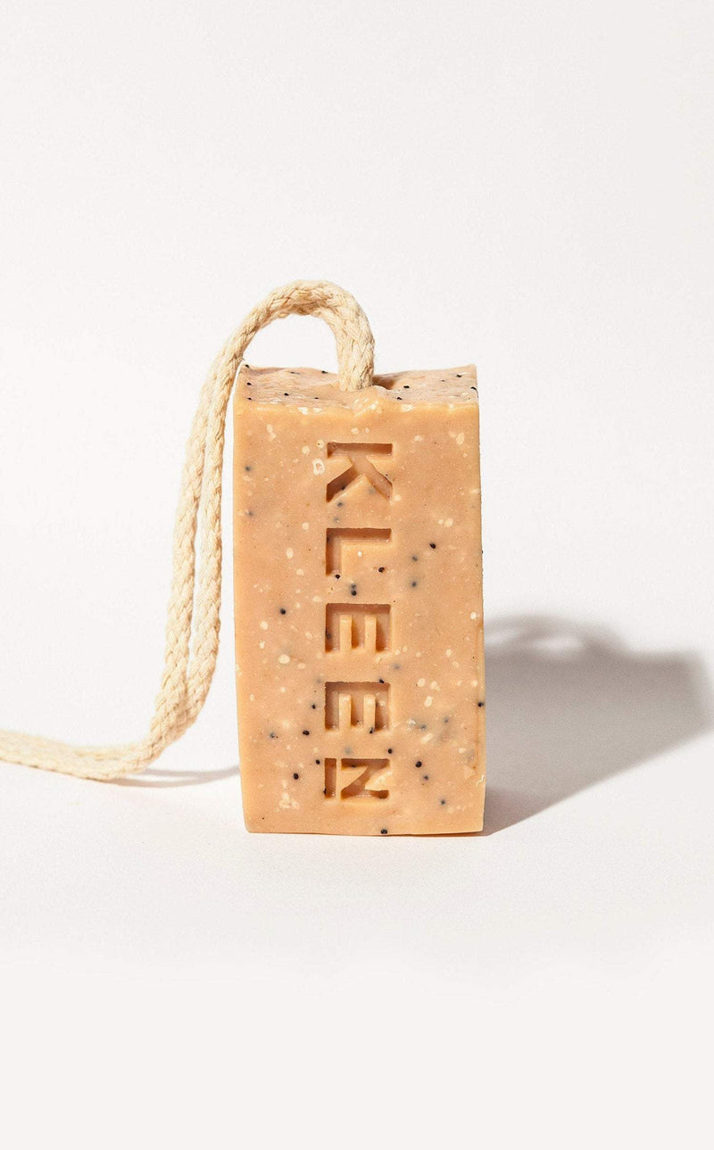 Picture of the Pumice foot scrub soap on a cotton rope by natural skincare brand Kleen soaps ideal for tired feet