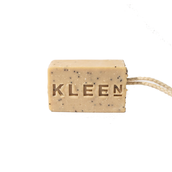 Picture of Pumice foot scrub soap on a cotton rope by natural skincare brand Kleen soaps ideal for tired feet
