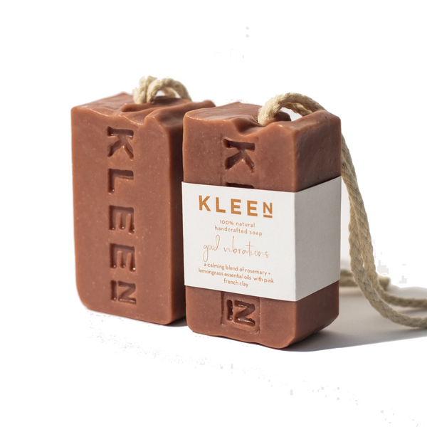 Picture with two French Pink Clay exfoliating soaps on a cotton rope by natural skincare brand Kleen soaps ideal for sensitive skin
