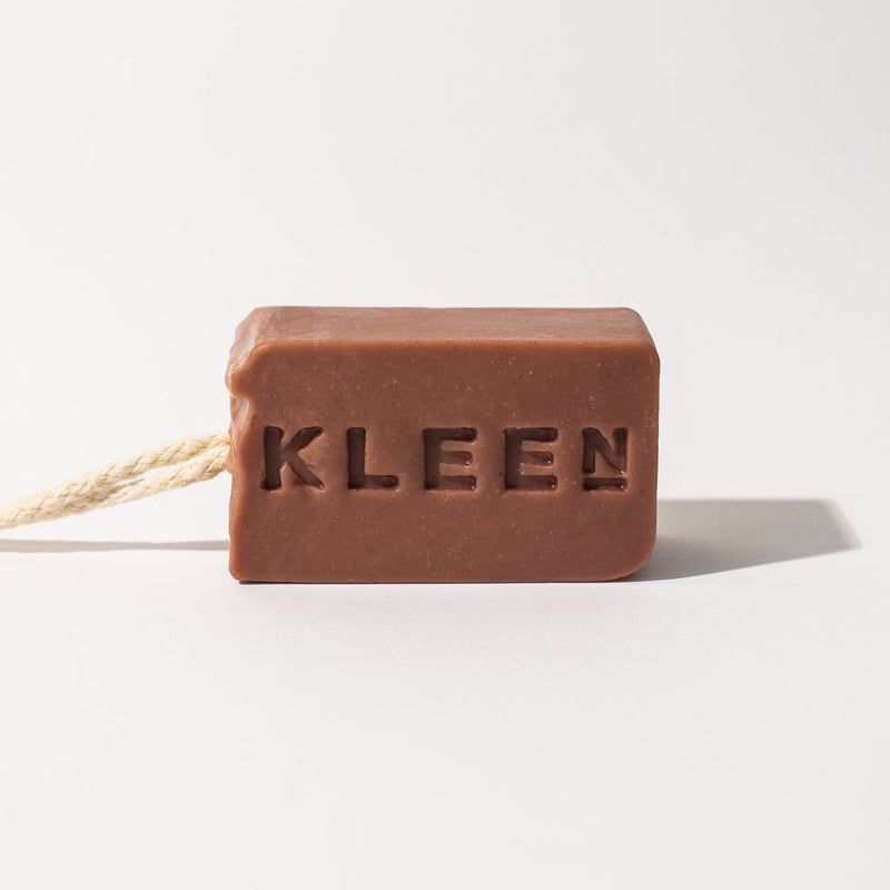 French Pink Clay exfoliating soaps on a cotton rope by natural skincare brand Kleen soaps ideal for sensitive skin