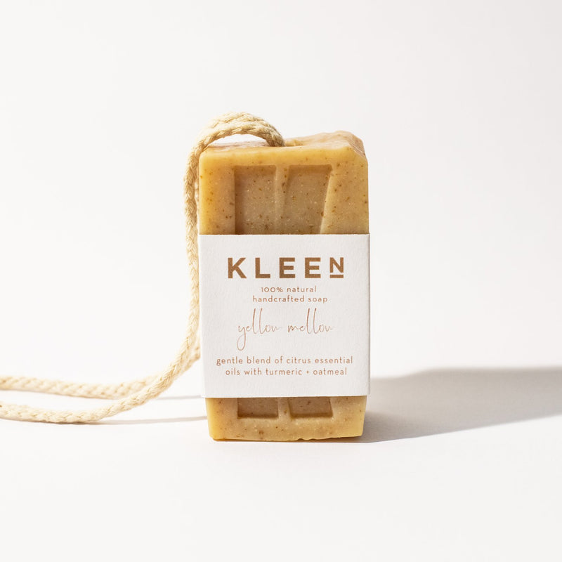 Citrusy exfoliating soaps on a cotton rope by natural skincare brand Kleen soaps ideal for oily skin