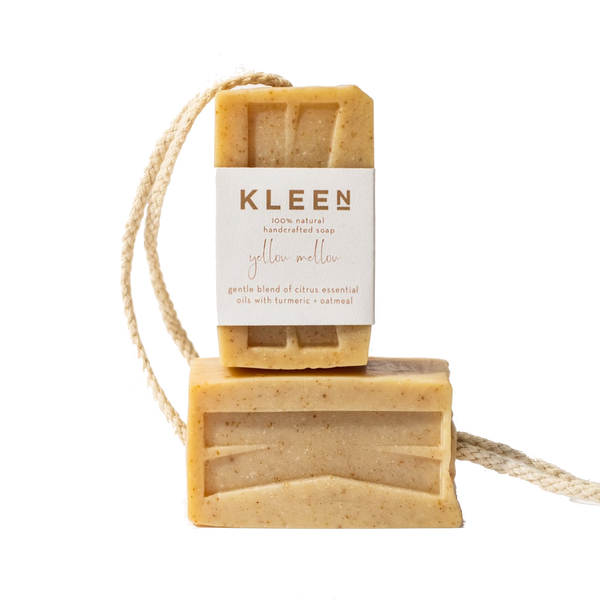Picture with two citrusy exfoliating soaps on a cotton rope by natural skincare brand Kleen soaps ideal for oily skin