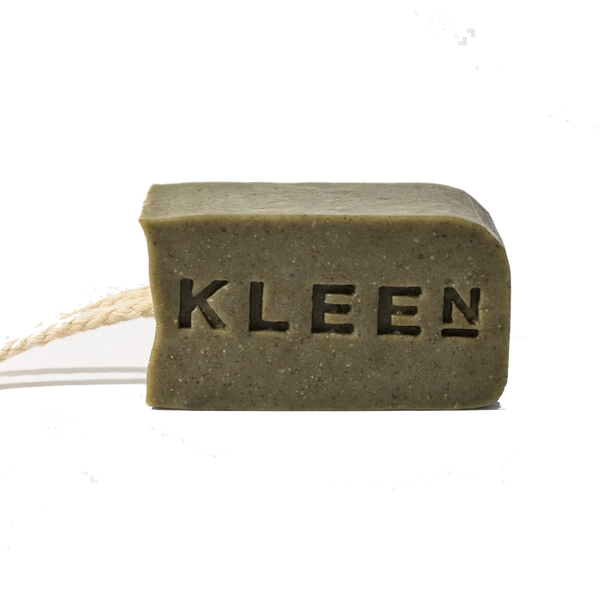 Tea Tree oil exfoliating soap on a cotton rope by natural skincare brand Kleen soaps for oily skin