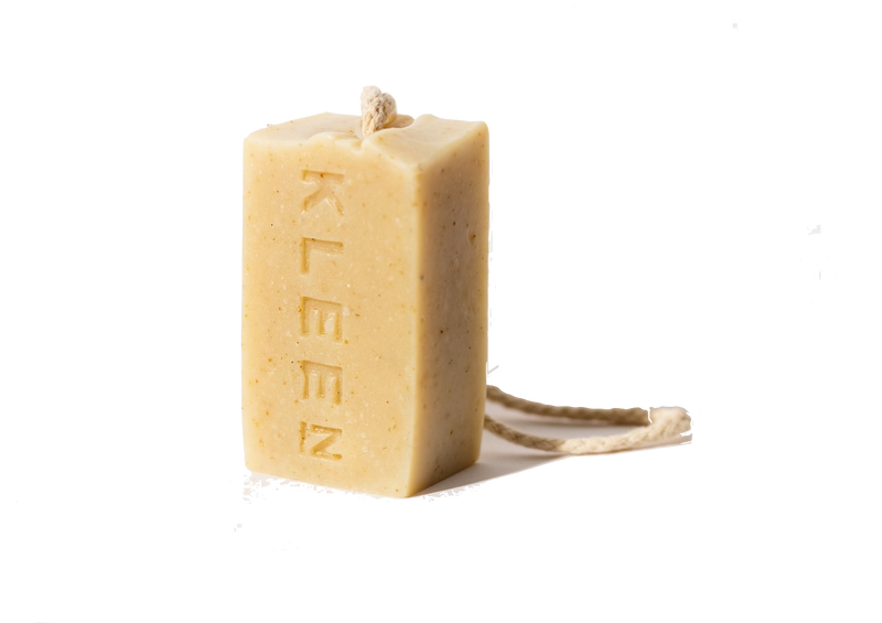 Unscented soap on a cotton rope by natural skincare brand Kleen soaps for sensitive skins