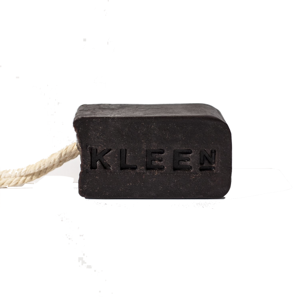 Coffee soap on a cotton rope by natural skincare brand Kleen soaps