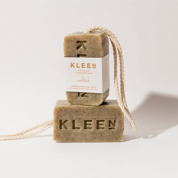 two soaps on a rope, one horizontal and one vertical, by natural skincare brand Kleen soaps