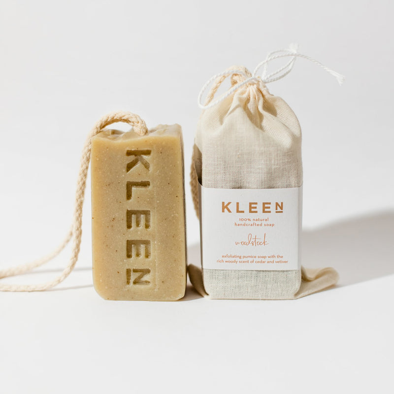 Soap on a cotton rope by natural skincare brand Kleen soaps and cotton soap travel bag