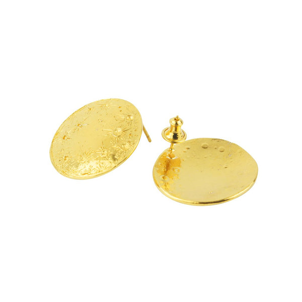 Front and back of 22ct gold plated Silver Full Moon earrings by Momocreatura