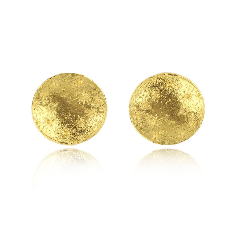 22ct gold plated Silver Full Moon earrings by Momocreatura