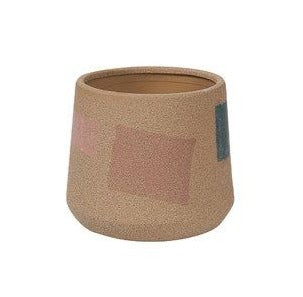 Pink Peach and blue textured ceramic planter 16cm diameter available at Cuemars
