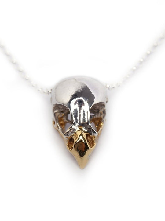 Sterling Silver x Gold Beak Bird of Prey Skull Necklace