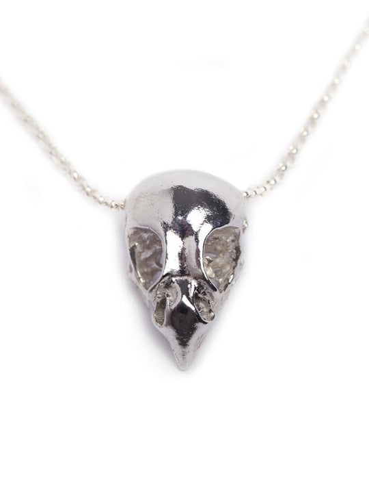 Sterling Silver Bird of Prey Skull Necklace