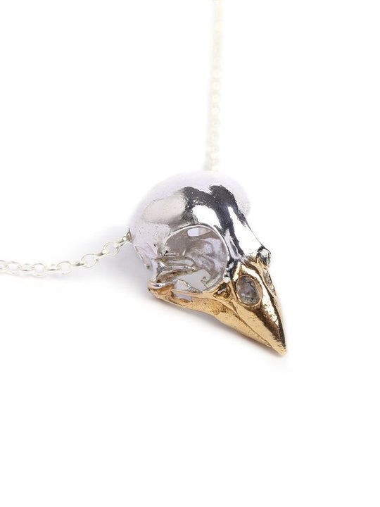 Sterling Silver x Gold beak Finch bird skull necklace