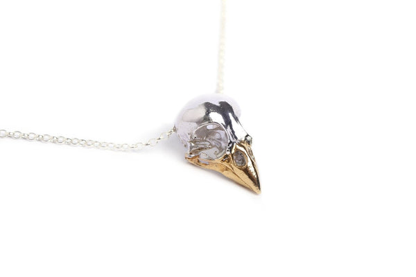 Handmade finch bird skull by MISAN jewellery in sterling silver and 24ct gold plated beak