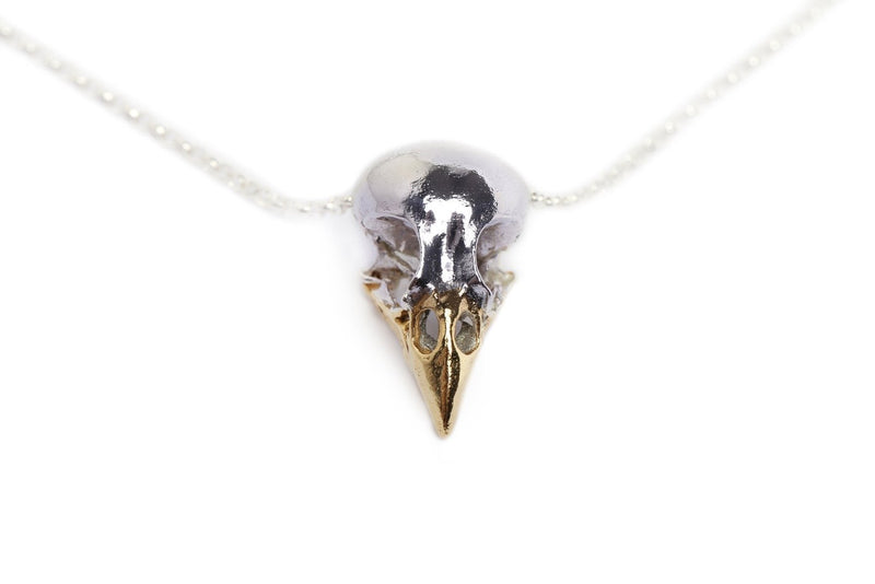 Handmade finch bird skull necklace in sterling silver and 24ct gold plated beak