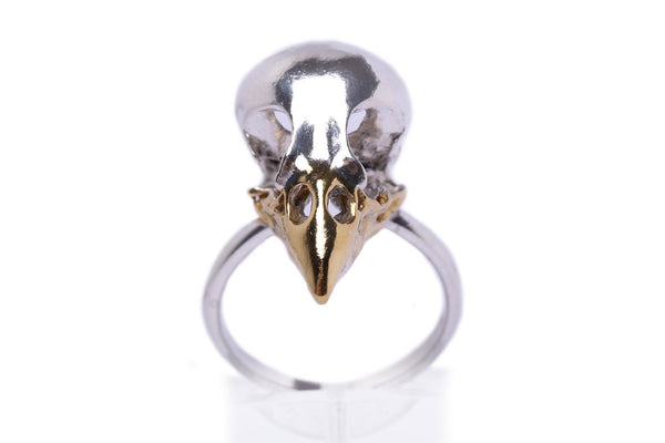 Handmade finch skull ring in sterling silver and 24ct gold plated beak