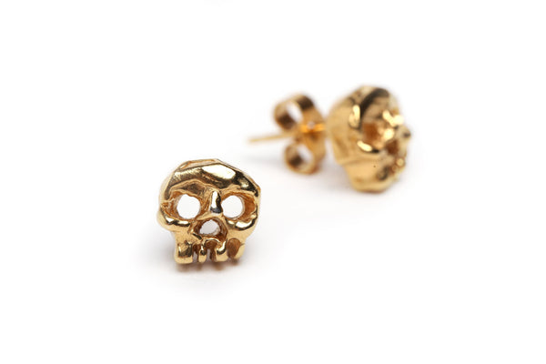 Handmade phantom ear studs in 24ct gold plated sterling silver