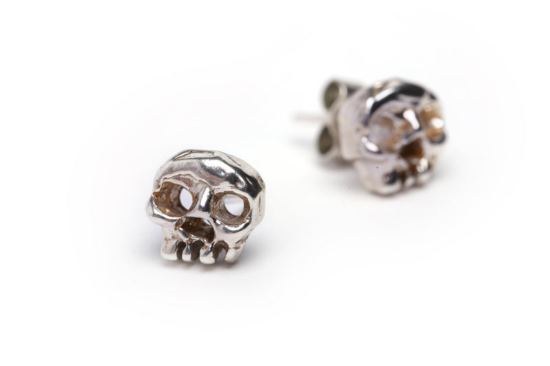 handmade phantom skull ear studs made in solid sterling silver