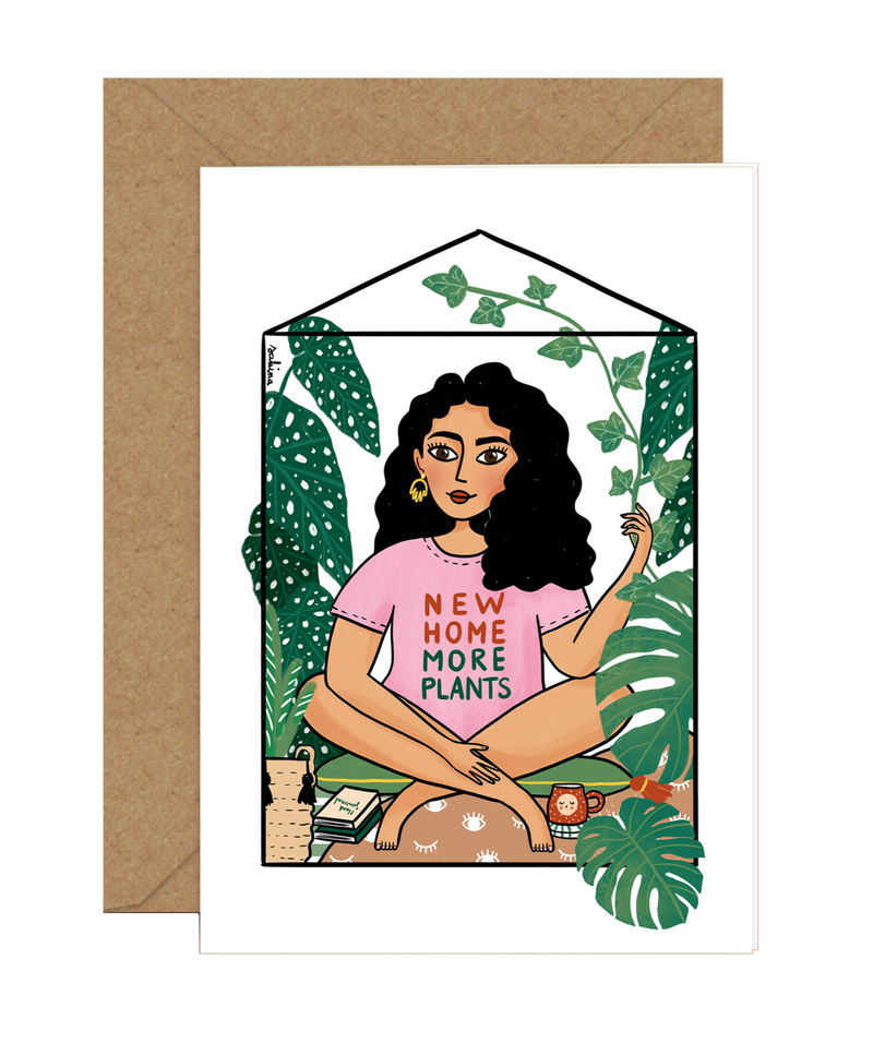 Illustrated New Home Greeting Card by Sakina Saidi 'New Home, More Plants' | Available at Cuemars London