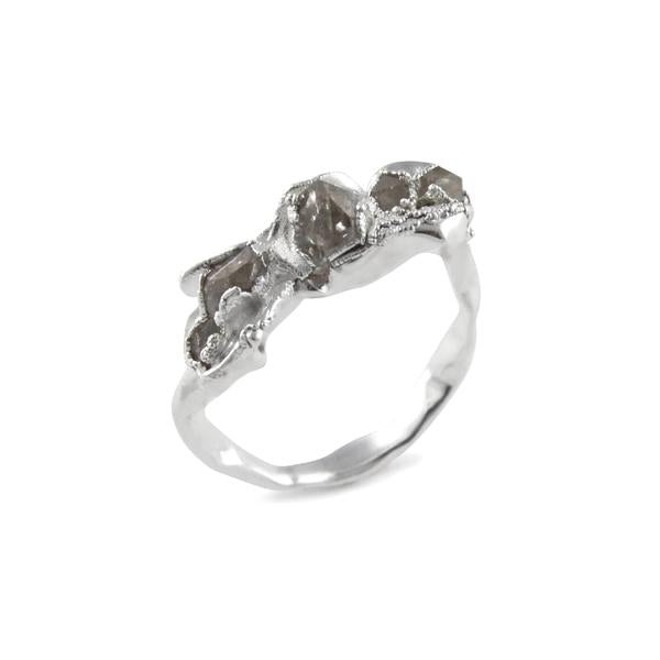 Silver and Herkimer diamond quartz Elegant Ring by Niza Huang from the Crush collection available at cuemars.com