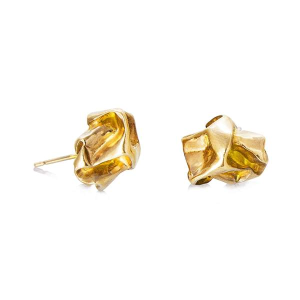 22ct gold plated chunky studs by Niza Huang from the Crush collection available at cuemars.com