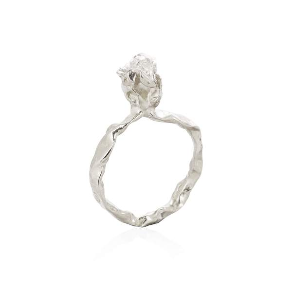 Silver and Herkimer diamond quartz One Stone Ring by Niza Huang from the Crush collection available at cuemars.com