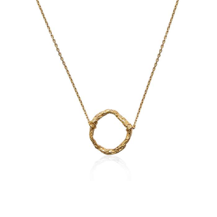 22ct gold plated handmade geometric circle necklace