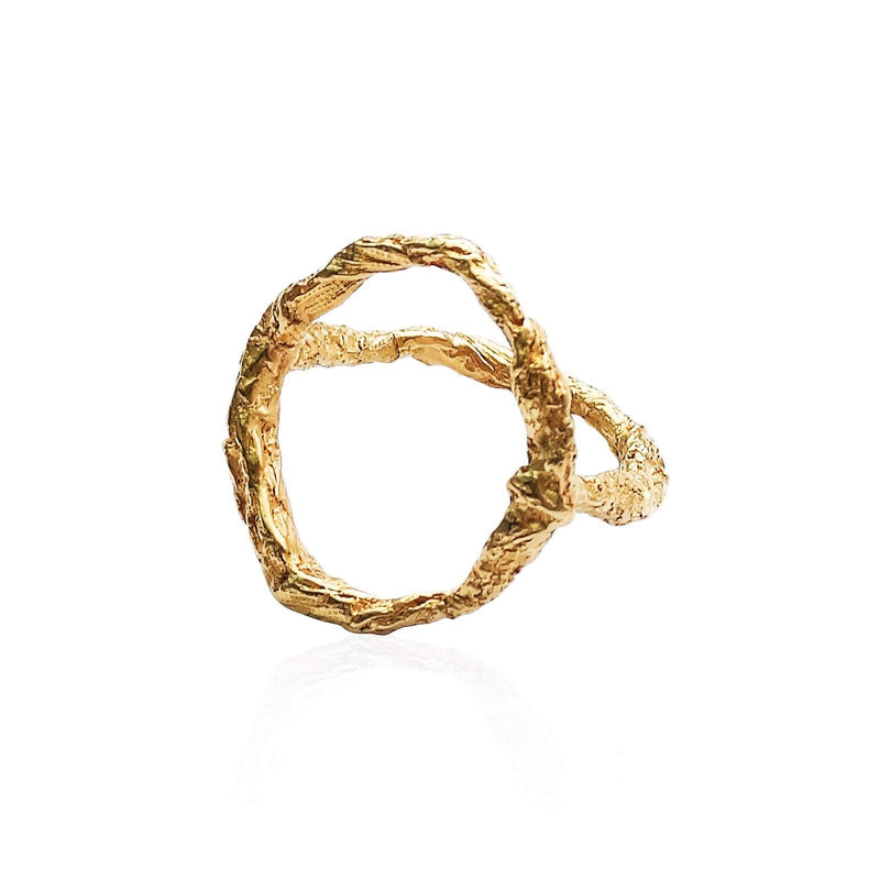 Handcrafted raw and unique geometric ring in 22ct gold plated sterling silver