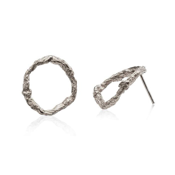 Niza Huang handcrafted Geometric Circle earrings in Solid Sterling Silver