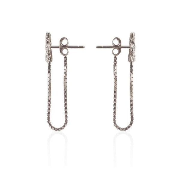 Niza Huang handcrafted raw sterling silver chain studs