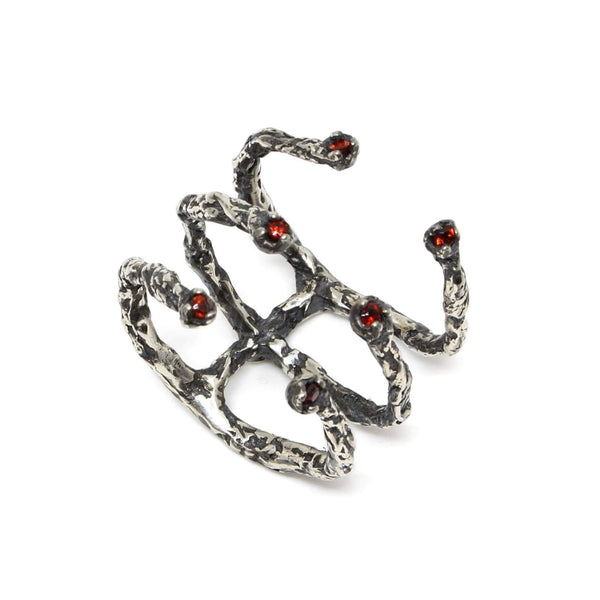 Handcrafted Oxidised Silver ring embellished with 6 garnet stones by Niza Huang available at cuemars.com