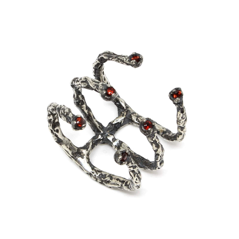 Oxidised Silver 6 Garnet stones ring - Moments Collection