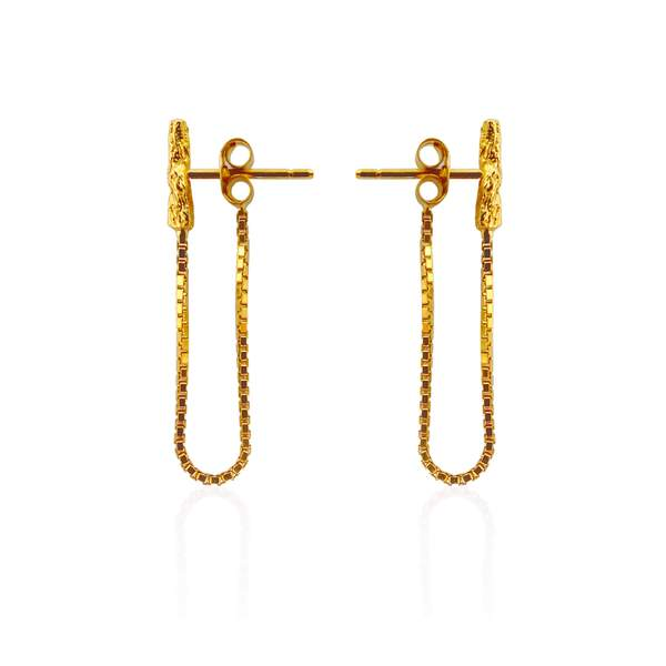 22ct gold plated chain earrings by Niza Huang from the Illusion collection available at cuemars.com
