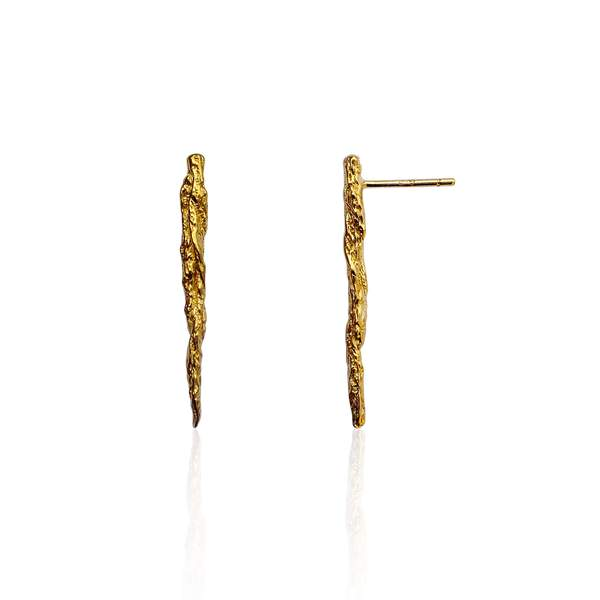 22ct gold plated silver Illusion Stick Studs earrings by Niza Huang from the Illusion collection available at cuemars.com