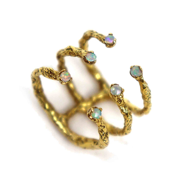 Handcrafted 22ct Gold Plated ring embellished with 6 white opal stones