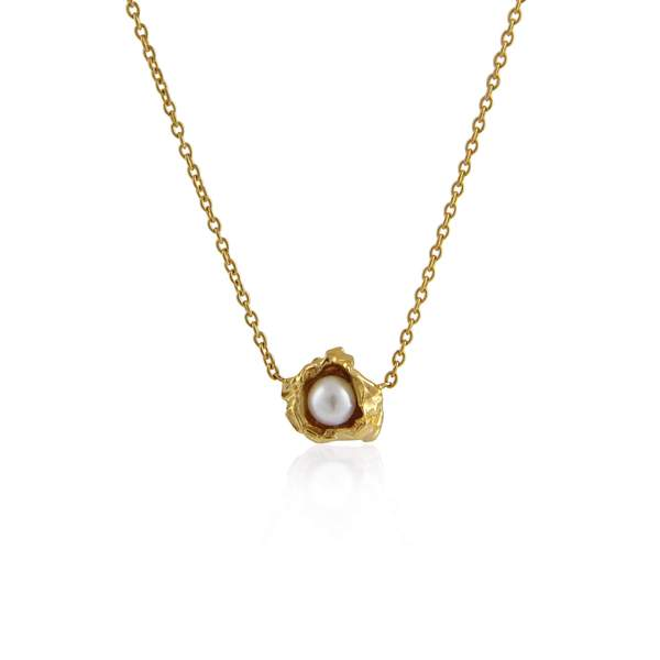 22ct gold plated and white pearl necklace by Niza Huang from the Crush collection available at cuemars.com