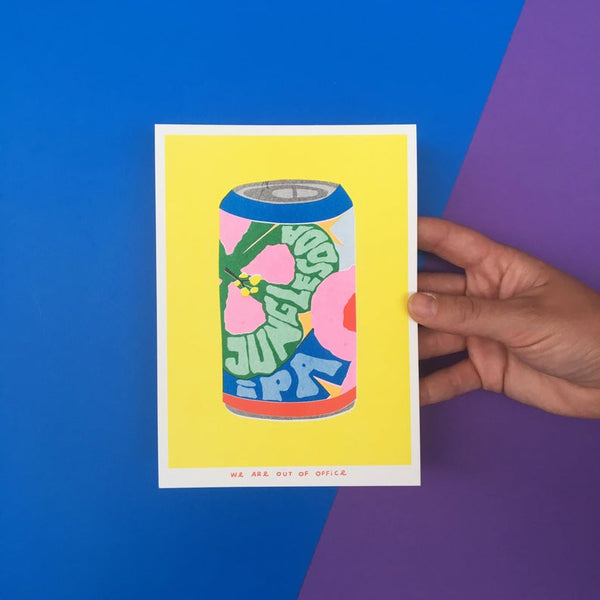 Image of a Japanese inspired risograph print featuring a can of jungle soda IPA by Utrecht based We are out of office available now at Cuemars