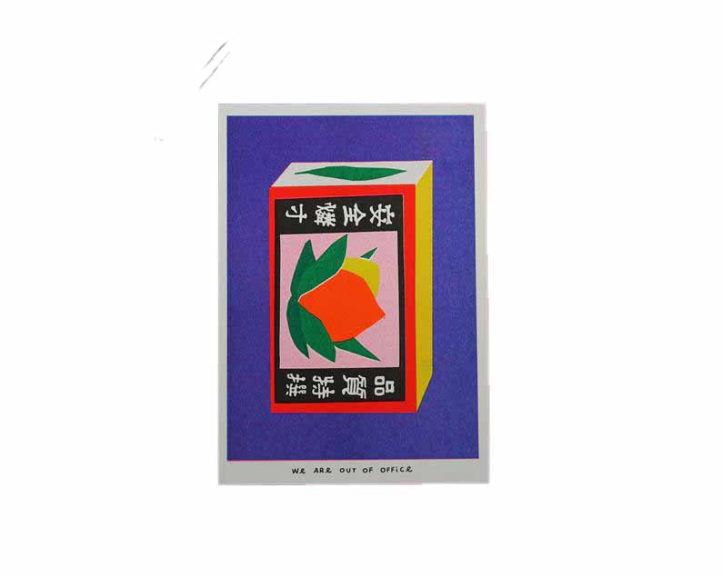 Picture of a Japanese inspired risograph print featuring a package of matchstick box by Utrecht based We are out of office available now at Cuemars