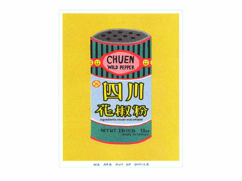 Image of a Japanese inspired risograph print featuring a tin can of Chuen Pepper by Utrecht based We are out of office available now at Cuemars