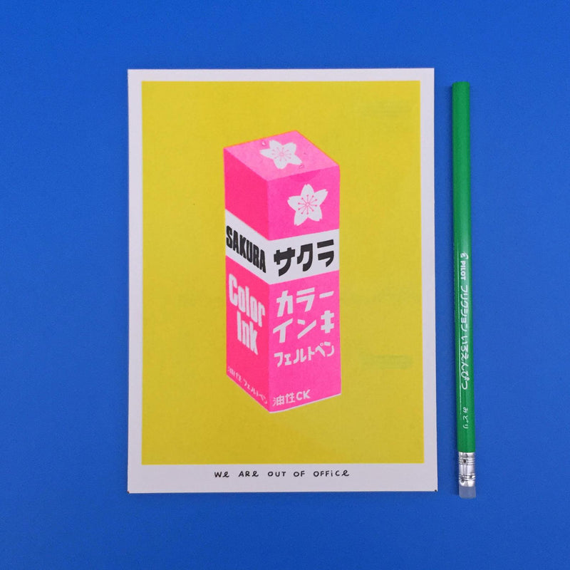pink-sakura-risograph-print-we-are-out-of-office-cuemars