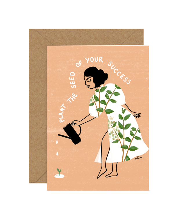 Illustrated Greeting Card by Sakina Saidi 'Plant the seed of your success' | Available at Cuemars London