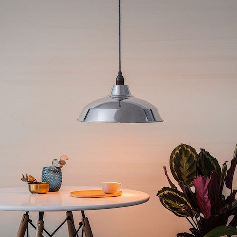 Industrial Lamp Shade - Silver Reflective